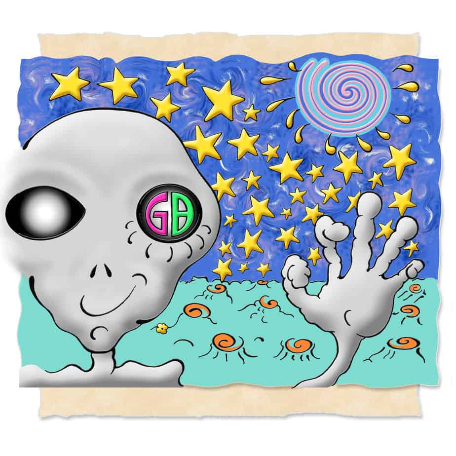"""Astrarian from Xul, Graylien, waves from a distant planet in space with a colorful spiral behind him in space.. """"GB"""" appears in one eye."""