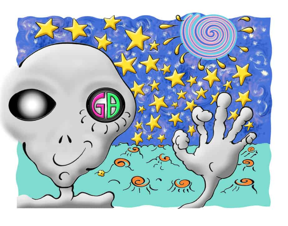 "Astrarian from Xul, Graylien, waves from a distant planet in space with a colorful spiral behind him in space.. ""GB"" appears in one eye."
